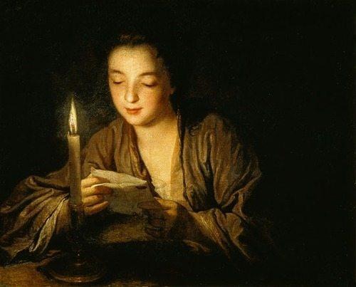 Jean-Baptiste Santerre - jeune fille lisant à la bougie
