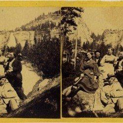 Eadweard J. Muybridge - Valley of the Yosemite,  Yosemite tourists, 1867.