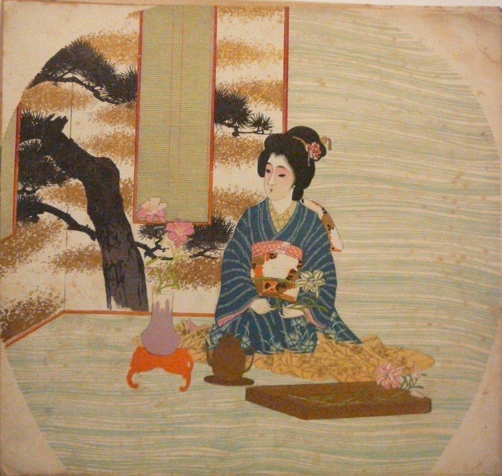 meiji-uchiwa-e-courtisane-pratiquant-likebana