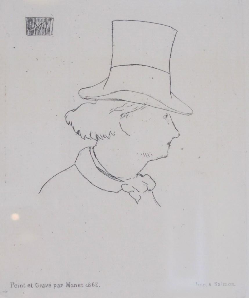 """""""Baudelaire de Profil en Chapeau"""" (Edouard Manet, 1832-1883)"""