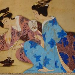 Deux geisha brûlant de l'encens - peinture anonyme