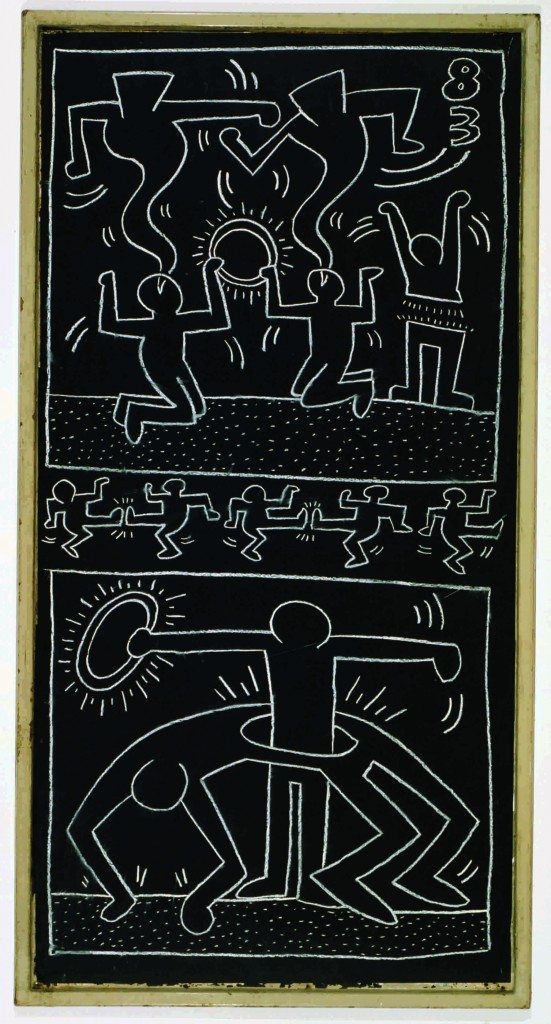"Keith Haring, ""Untitled (Subway Drawing)"", chalk on paper, 220 x 114 cm, 1983, © Keith Haring Foundation. Collection Udo and Anette Brandhorst."