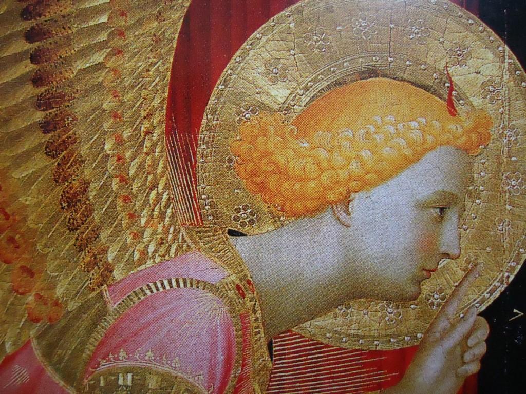 Annonciation (Fra Angelico, 1400-1455 ) - détail de l'Archange Gabriel vers 1432-1433, 175x180 cm, ©Cortona, Museo Diocesano.