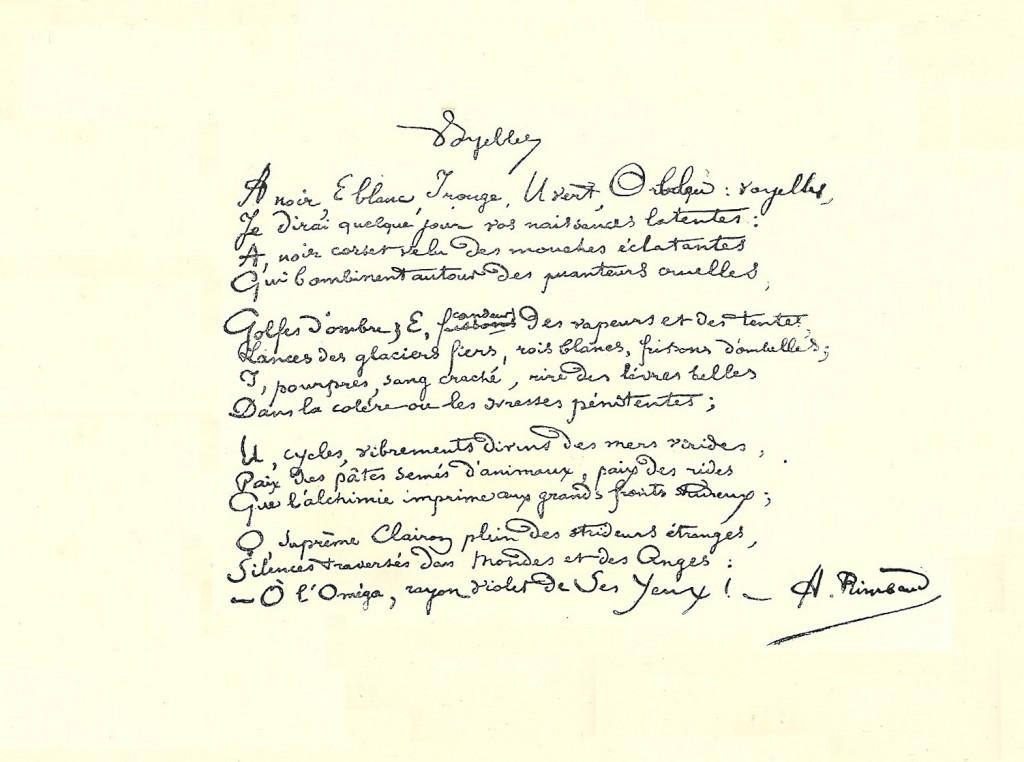 """Manuscrit du poème """"Voyelles"""" d'Arthur Rimbaud"""