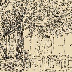 Dessin de Desmond Knox-Leet: place de village