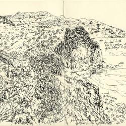 Dessin de Desmond Knox-Leet: paysage côtier (probablement au Viêt Nam) avec indications (pour une peinture à son retour)