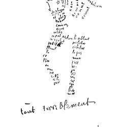 Tout terriblement de Guillaume Apollinaire (1880-1918), calligramme paru dans le catalogue d'une exposition consacrée à Léopold Survage et Irène Lagut, en 1917.