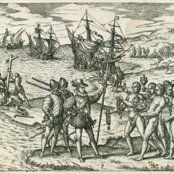 Voyage de Magellan 2 (Gravure (vers 1590) de Jean-Théodore de Bry. (Bibliothèque nationale de France, Paris.)