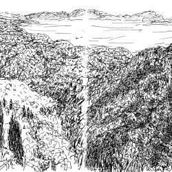Dessin de Desmond Knox-Leet: paysage (probablement le Viêt Nam)