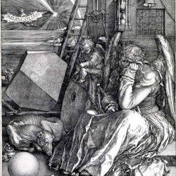Melancholia (1514) gravure de Albrecht Dürer (1471 - 1528) - un carré magique est visible dans la partie supérieure droite de l'œuvre
