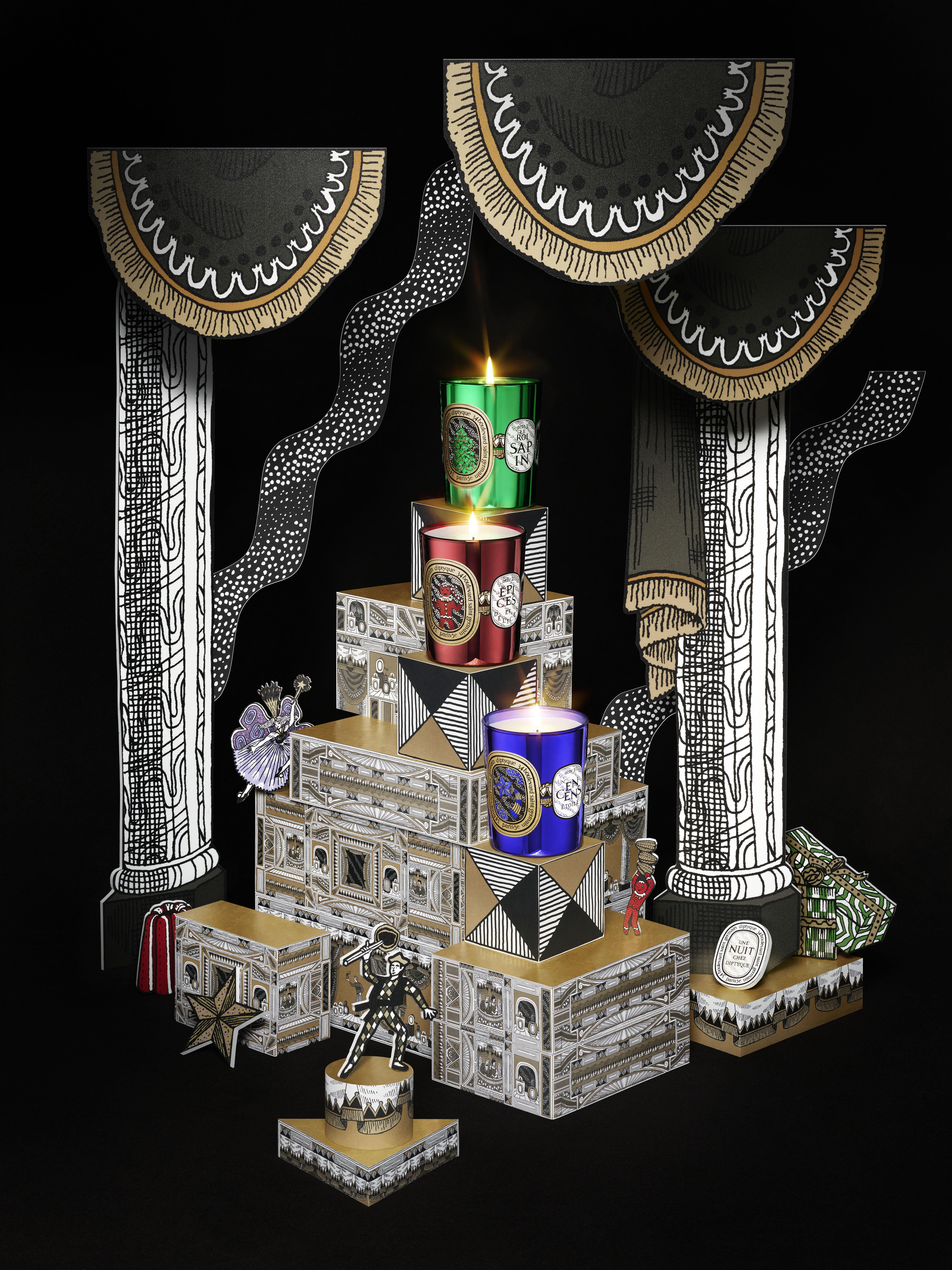 une nuit chez diptyque les trois bougies de no l memento. Black Bedroom Furniture Sets. Home Design Ideas