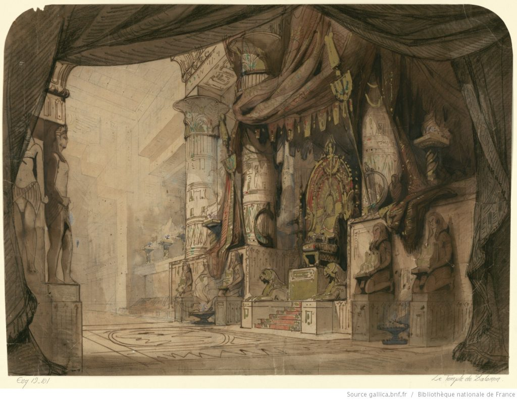 Le temple Salomon, décors de Philippe Ricquier de 1846 (source gallica.bnf.fr / Bibliothèque nationale de France)