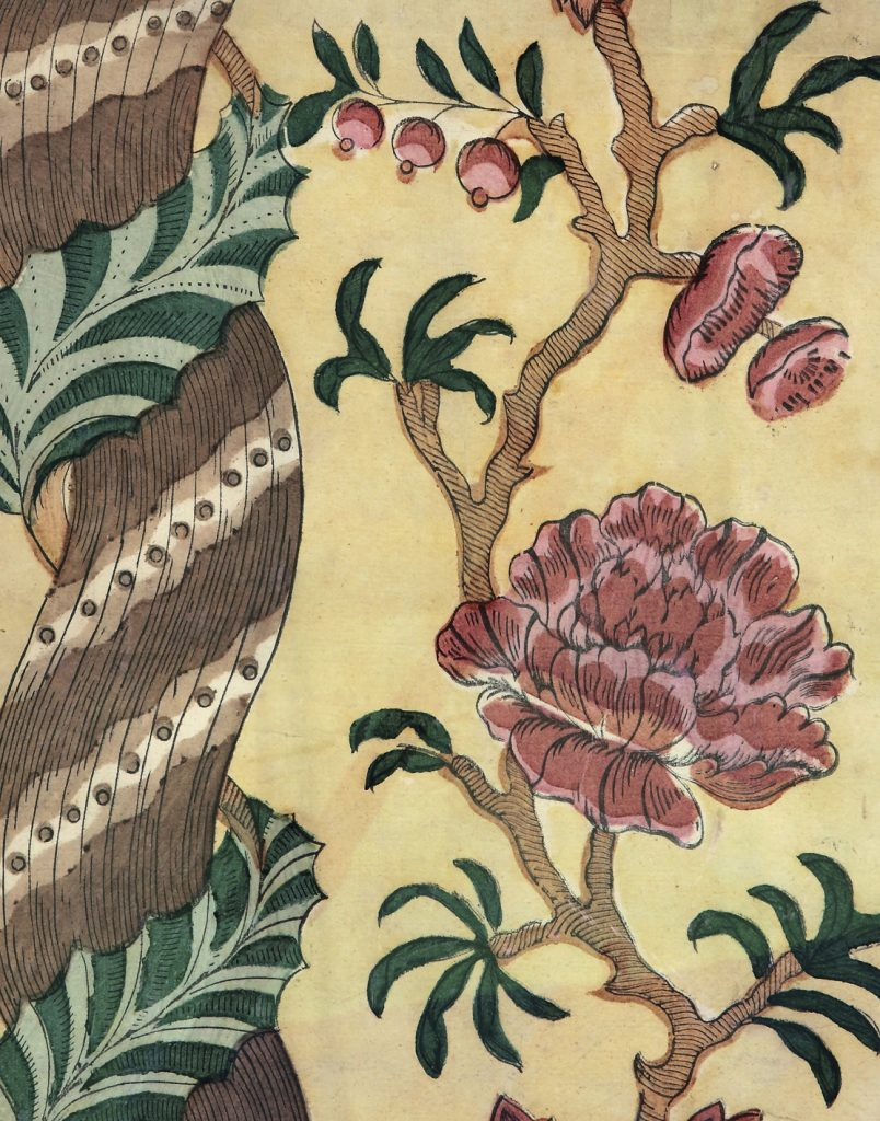Détail d'un papier dominoté conçu comme décor mural. Le « papier de tapisserie » est considéré comme l'ancêtre du papier peint ; (collection de l'auteur, photo © Corinne Schanté-Angelé)