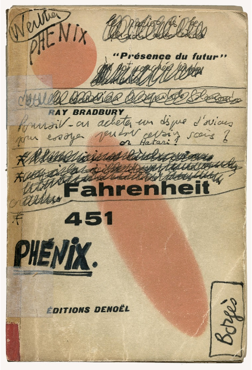 Couverture annotée par le cinéaste François Truffaut du livre Fahrenheit 451 de Ray Bradbury, éditions Denoël – (La Cinémathèque française © Succession François Truffaut)
