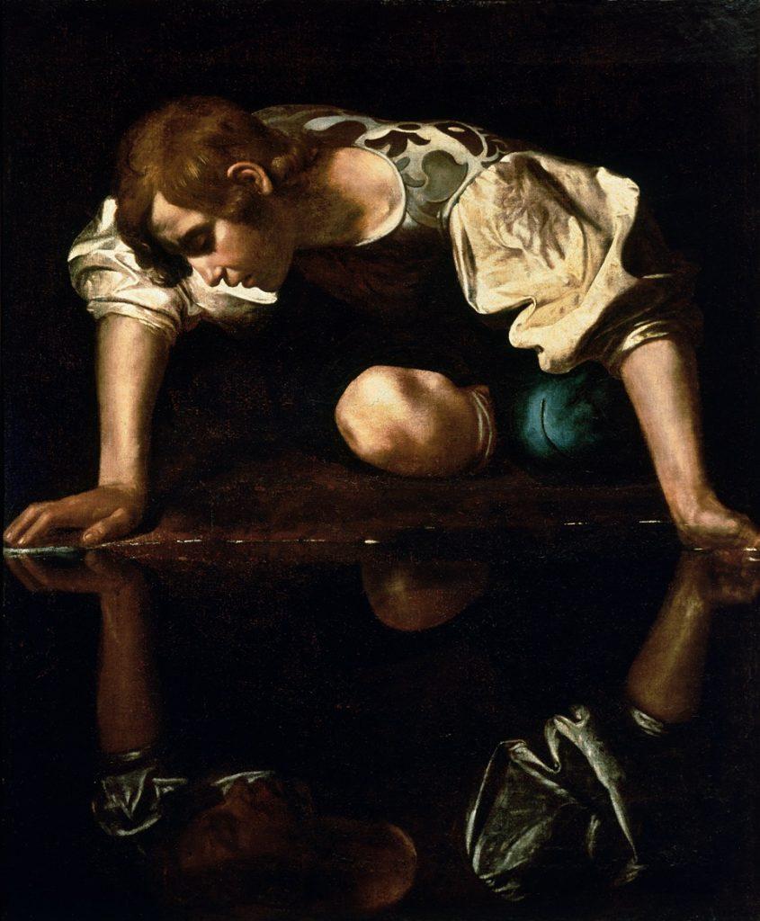 Le Caravage, Narcisse, 1598-1599, huile sur toile, conservé à la Galerie nationale d'art ancien de Rome.