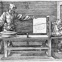 """Albrecht Dürer (1471-1528 ) - gravure extraite de """"Instructions sur la manière de mesurer"""" (1525)"""