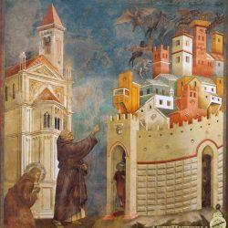 Giotto di Bondone (1266-1337) - L'expulsion des démons à Arezzo (1297-99), (fresque de l'église supérieure Saint François d'Assise).