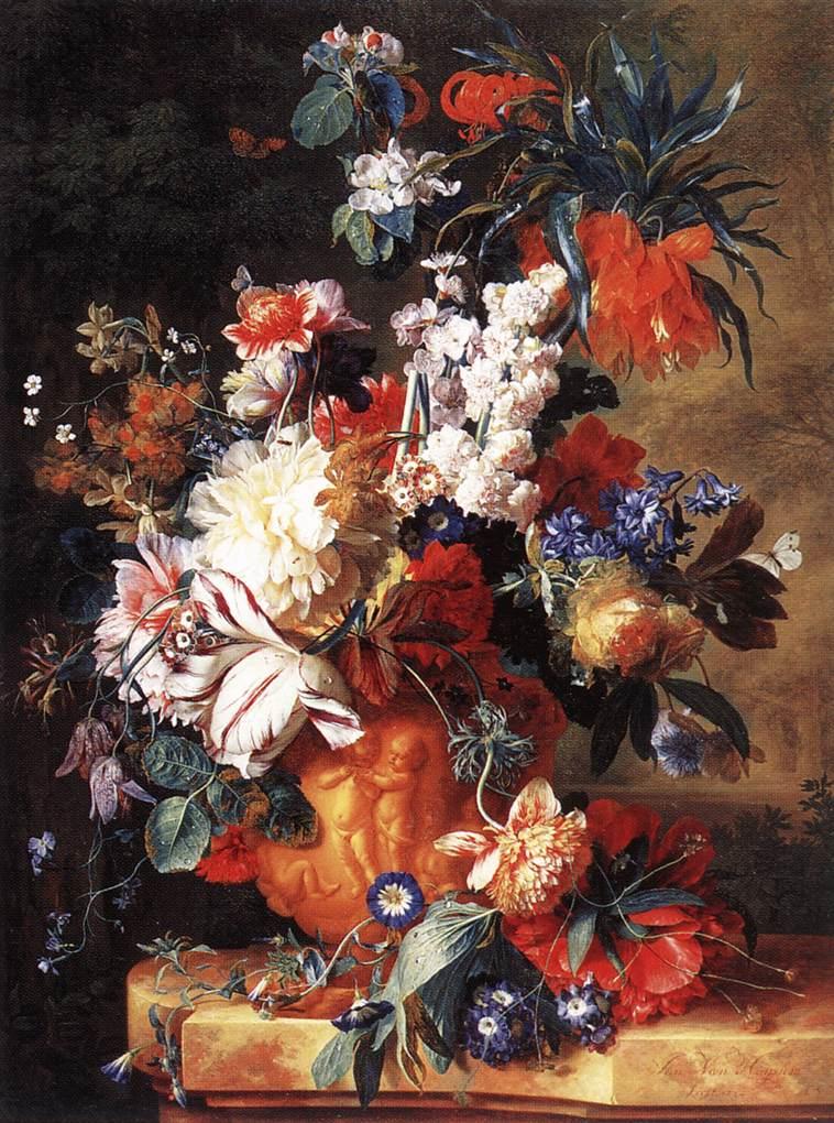 Jan van Huysum (1682-1749) - Bouquet de fleurs dans un vase