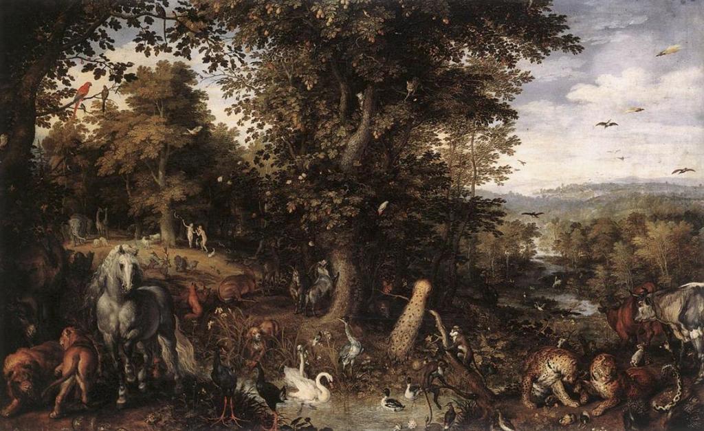 """Jan Brueghel l'Ancien dit """"de Velours"""",  (1568-1625) - Le Jardin d'Eden, Musée Thyssen - Bornemisza, Madrid"""