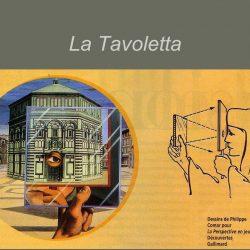 """La """"tavoletta"""" de Brunelleschi (1377-1446) et l'illustration de son fonctionnement optique ( dessins de Philippe Comar dans La Perspective en jeu publié chez Découvertes Gallimard)"""