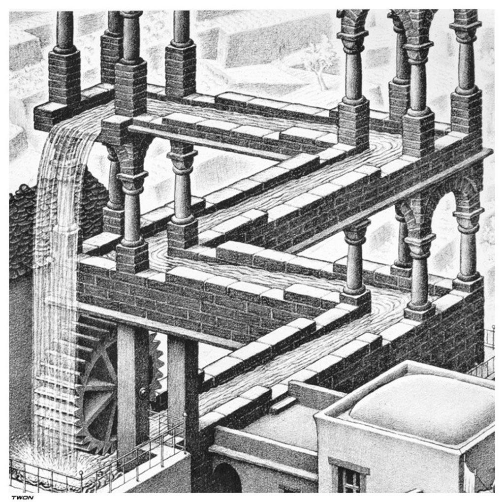 M.C. Escher (1898-1972) - Chute d'eau (1961)