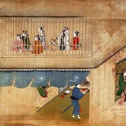 Peinture japonaise du XVIIe siècle classiquement proposée comme un exemple de perspective cavalière dans l'art nippon)