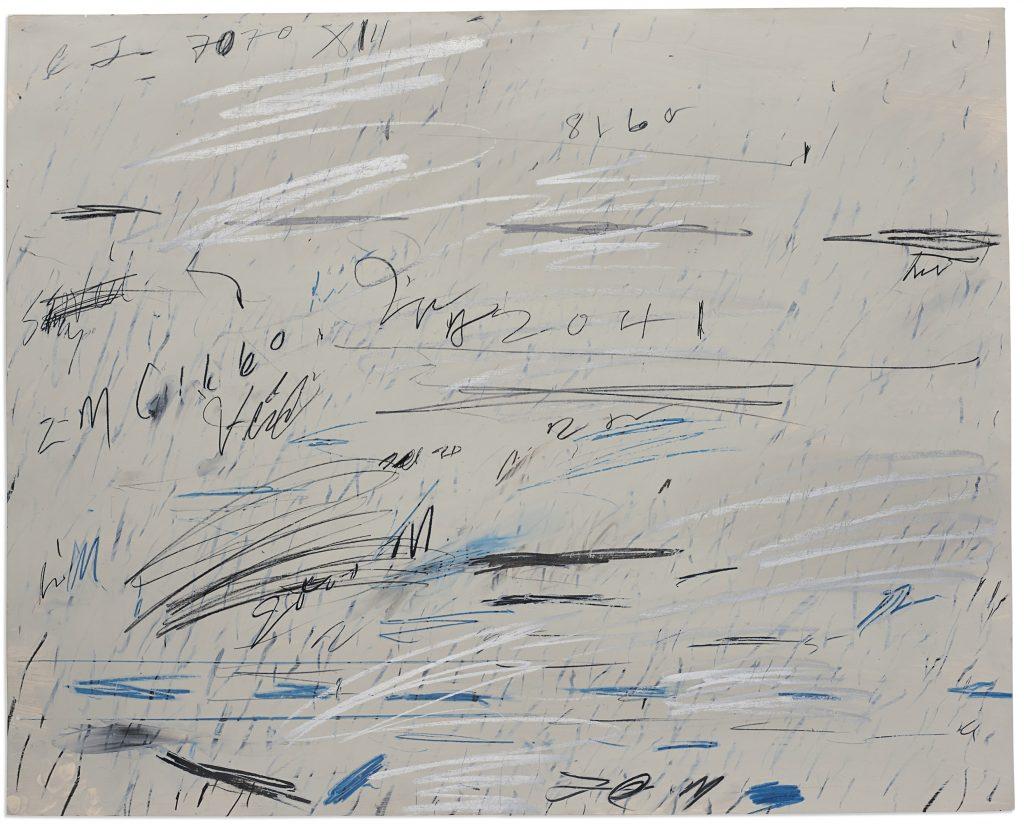 Untitled, de Cy Twombly (1928-2011). Huile, mine de plomb et crayon gras sur papier 70 x 87.5 cm. (27½ x 34½ in.) Réalisé à Rome en juillet 1970.