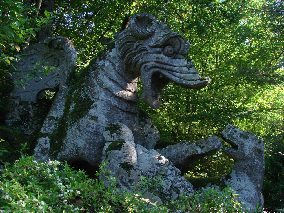Jardin de Bomarzo - Dragon (photo d'Erin, Creative Commons)