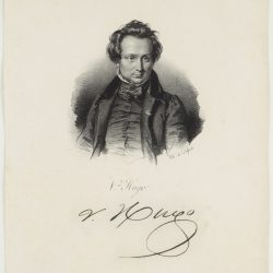 Victor Hugo (1802-1885), avec la signature de l'écrivain au dessous de son portrait (Bibliothèque nationale de France)