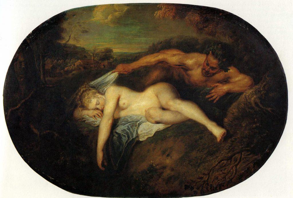 Antoine Watteau (1684-1721) - Nymphe et satyre, dit aussi Jupiter et Antiope, Musée du Louvre
