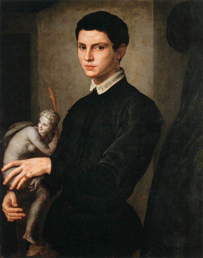 Bronzino (Agnolo di Cosimo di Mariano Tori, 1503-1572), Portrait d'homme tenant une statuette (l'identité du sculpteur Baccio Bandinelli est contestée, mais le modèle était probablement un sculpteur), Musée du Louvre.