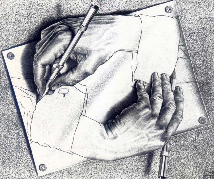 Drawing Hands (« Mains dessinant »), lithographie de Maurits Cornelis Escher (1898-1972)