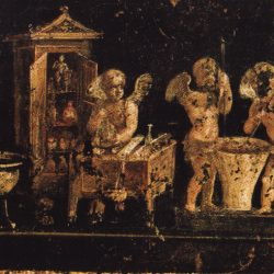 Fresque dite des Amours parfumeurs à Pompei (détail, état actuel)  Dagli Orti.