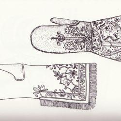 Gants parfumés XVI°-XVII°,  dessin d'après les originaux du Victoria et Albert Museum, Londres, copyright by Potterton Books Ltd.