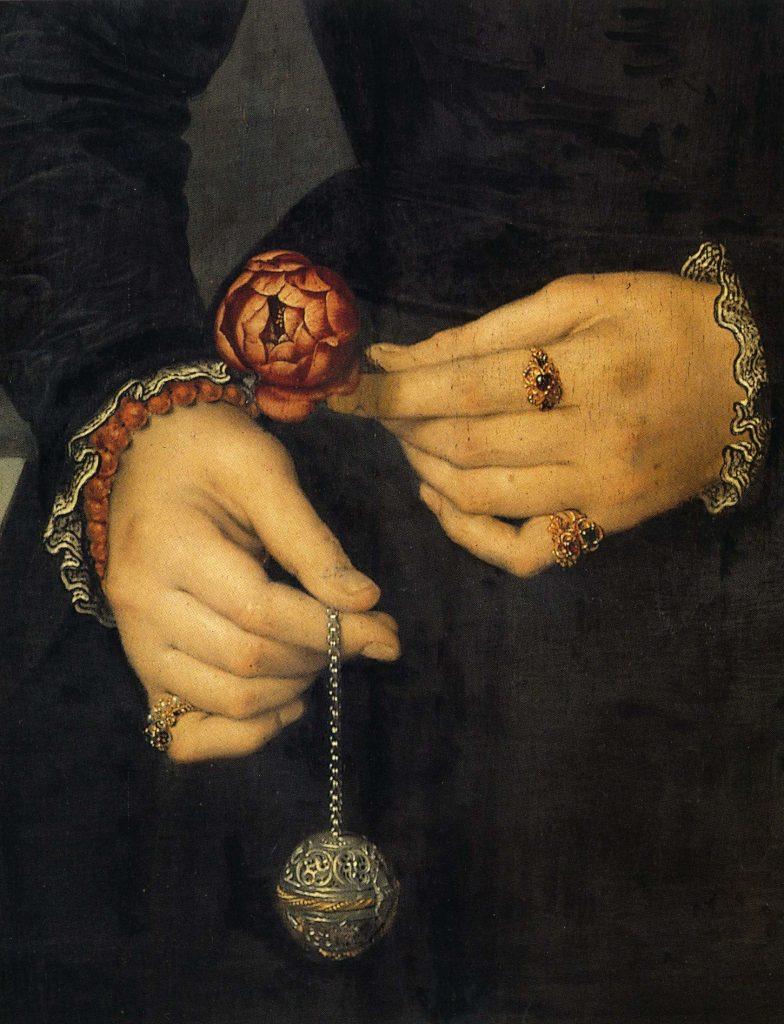 Pomme de senteur tenue au bout d'une chaînette (détail d'un portrait  de femme de Nicolas de Neuchatel dit Lucidel)