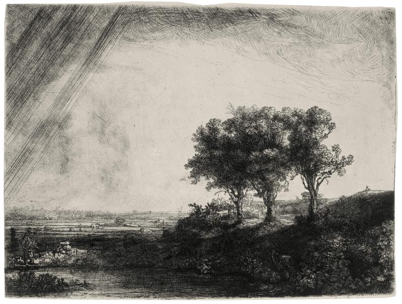 Rembrandt van Rijn (1606/7-1669), Trois arbres (eau-forte)