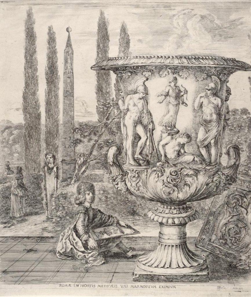 Gravure de Stefano Della Bella (1656) figurant le jeune Cosme III de Médicis dessinant le vase auquel la postérité donnera son nom.
