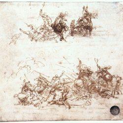 Léonard de Vinci (1452-1519) - Étude de combats à cheval et à pied, 1503-4, Dell'Accademia de Gallerie, Venise
