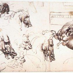 Léonard de Vinci (1452-1519) - Étude des chevaux pour la bataille d'Anghiari, 1503-4, Bibliothèque Royale, Windsor