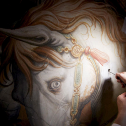 Sondes dirigées par Maurizio Seracini en 2012, au travers de la fresque peinte par Giorgio Vasari (1511-1574)