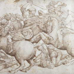 """Schéma de """"La bataille d'Anghiari (copie d'un détail)"""" 1503-5, Degli Uffizi, Florence de Galleria"""