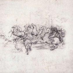 """Léonard de Vinci (1452-1519) - Groupe de cavaliers dans """"La bataille d'Anghiari"""", 1503-4, Bibliothèque Royale, Windsor"""