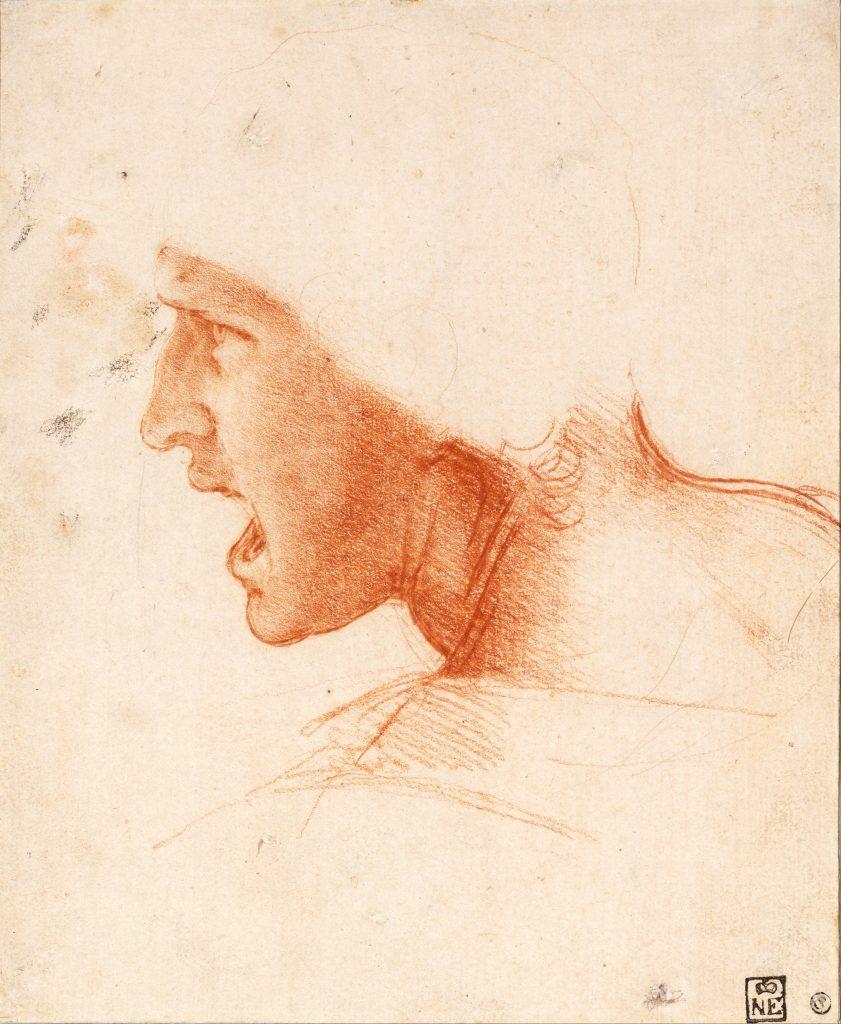 Léonard de Vinci (1452-1519) - Tête d'un guerrier ('le chef rouge ') - étude pour la bataille d'Anghiari, 1504-5, Musée des arts fins, Budapest