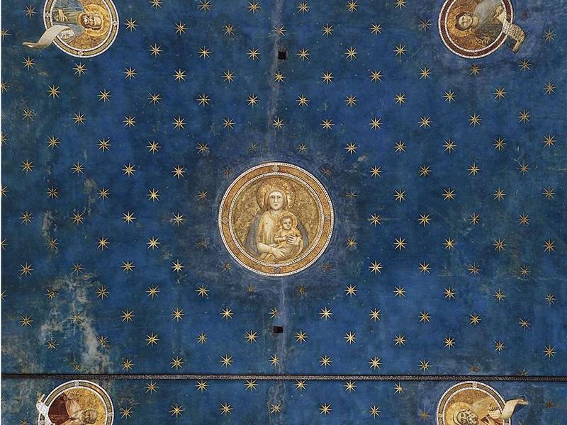 Giotto (1266/7-1337) - Fresque de la chapelle Santa Maria della Carità all'Arena (Saint Marie de la Charité de l'Arène) à Padoue (détail): partie de la voûte située à l'ouest, du côté de l'entrée de la chapelle. La Vierge Marie portant l'enfant le Christ dans le médaillon central est entourée de quatre médaillons où figurent des prophètes.