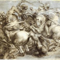 """Pierre-Paul Rubens (1508-1577) - copie de la scène de """"La lutte pour l'étendard"""" de la bataille .d'Anghiari (Photo (C) RMN-Grand Palais (musée du Louvre) / Michel Urtado)"""
