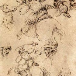 Léonard de Vinci (1452-1519) - Étude de batailles à cheval, 1503-4, Degli Uffizi, Florence de Galleria