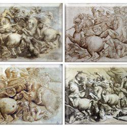 """Quatre copies """"in situ"""" de la scène de la lutte pour l'étendard de la bataille d'Anghiari de de Vinci (probablement par P.P. Rubens, Ricellai, un anonyme et Commodo: sources internet non vérifiées)"""
