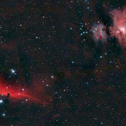 Plusieurs nébuleuses dans Orion: M42, la Tête de Cheval et la Flamme.