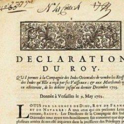Autorisation royale accordée avec échéance à la Compagnie des Indes Orientales de vendre les toiles indiennes reçues par voie maritime, et à leurs acheteurs de les revendre