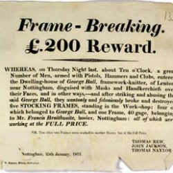 Affiche de promesse de récompense avec description de méfaits causés par une expédition luddite